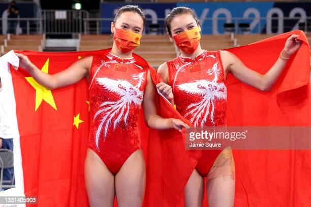 Xueying Zhu and Lingling Liu of Team China pose after winning the gold and silver medals, respectively, during the Women's Trampoline Final on day...