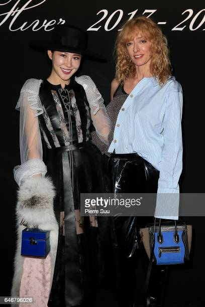 Xuo An Xiao and Elina Halimi attends the Rochas show as part of the Paris Fashion Week Womenswear Fall/Winter 2017/2018 on March 1 2017 in Paris...