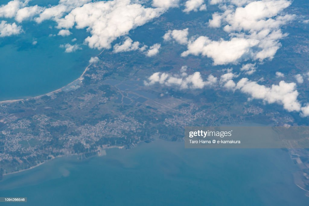 Xuwen County in Zhanjiang city in Guangdong Province in China daytime aerial view from airplane : Stock Photo