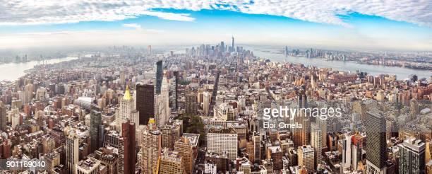 XXL Panoramablick auf die Innenstadt von Midtown Manhattan New York Morgen