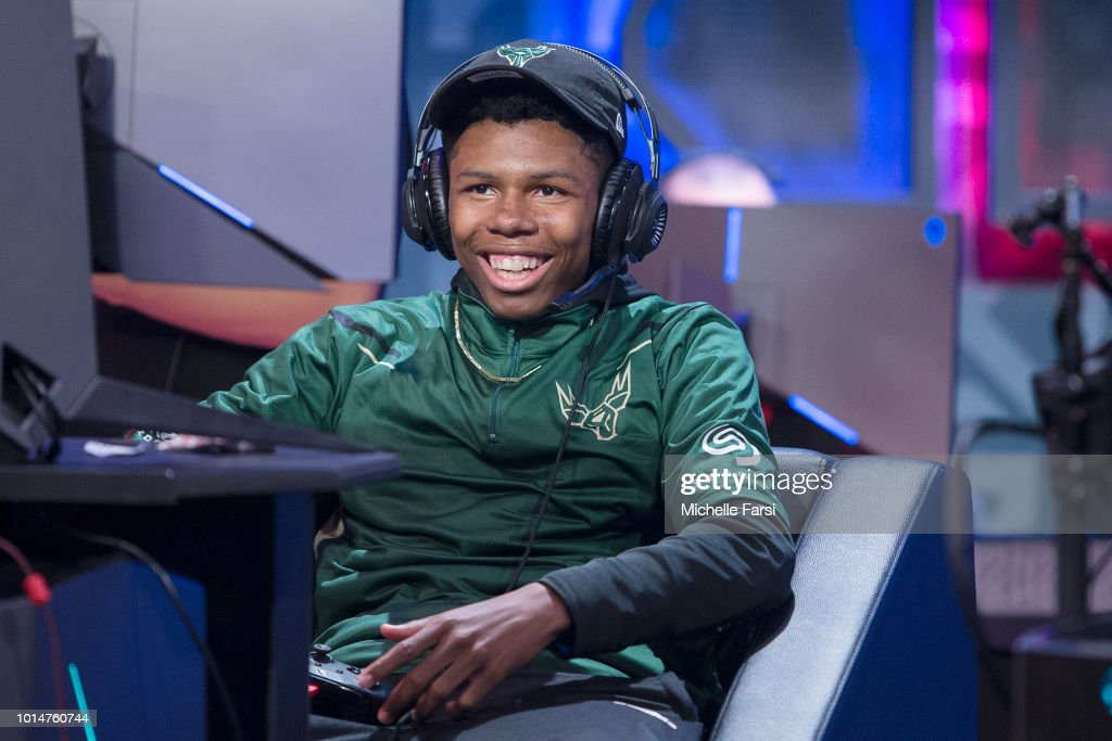 XxSTL2LAxX of Bucks Gaming laughs during the game against Mavs Gaming during Week 12 of the NBA 2K League on August 10, 2018 at the NBA 2K Studio in Long Island City, New York.