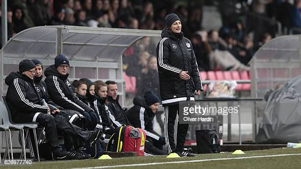 xxx Head coach Bernhard Anouschka of Germany gesticulated during the international friendly match between U17 Girl's Denmark and U17 Girl's Germany...