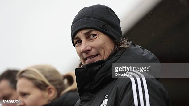xxx Head coach Bernhard Anouschka of Germany looks on prior to the international friendly match between U17 Girl's Denmark and U17 Girl's Germany at...