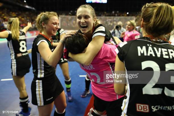 xxx of Germany and xxx of Netherlands compete for the ball during the Women Gold Medal Indoor Hockey World Cup Berlin Final Day on February 11 2018...