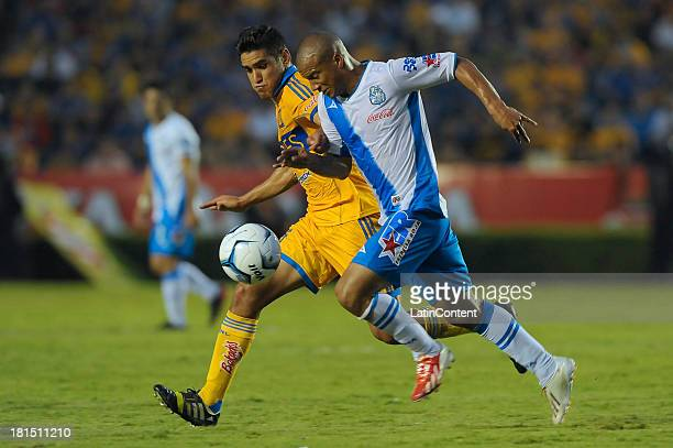 xxx of Tigres in action during a match between Tigres UANL and Puebla FC as part of the Liga MX at Universitario stadium on September 21 2013 in...