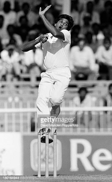 Xxxxxxxx bowling for xxxxxxxxx during their Champions Trophy match against Sri Lanka in Sharjah, United Arab Emirates, 27th November 1986. India won...