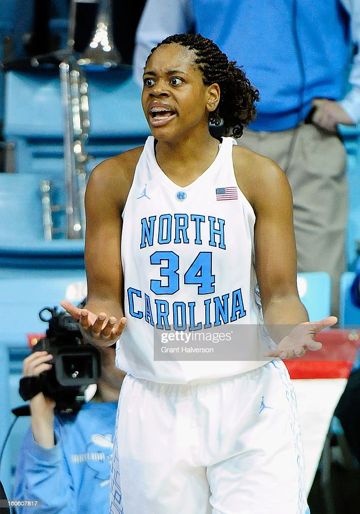 Xylina McDaniel #34 of the North Carolina Tar Heels reacts after being called for a foul against the Duke Blue Devils during play at Carmichael Arena on February 3, 2013 in Chapel Hill, North Carolina.