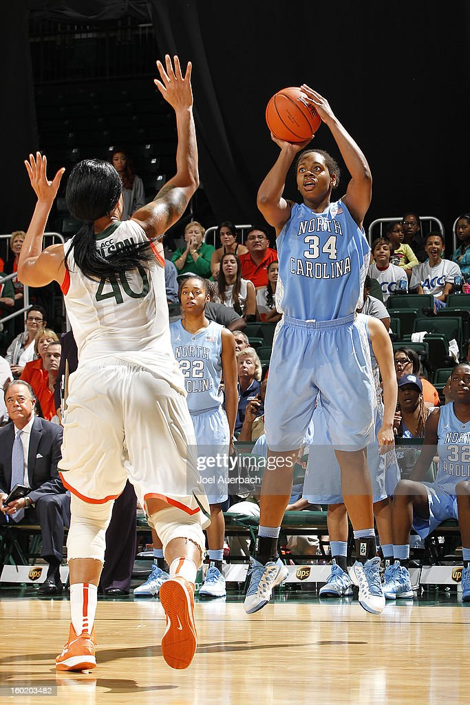 Xylina McDaniel #34 of the North Carolina Tar Heels shoots the ball past Shawnice Wilson #40 of the Miami Hurricanes on January 27, 2013 at the BankUnited Center in Coral Gables, Florida. The Tar heels defeated the Hurricanes 64-62.