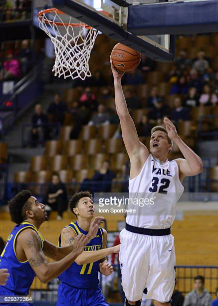 /y32/ shoots the ball in the post as the Delaware Fightin Blue Hens take on the Yale Bulldogs on December 11 2016 at the Payne Whitney Gymnasium in...