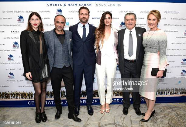 Yaakov Daniel Gerard Butler RonaLee Shimon Haim Saban Cheryl Saban and guest attend Friends of The Israel Defense Forces Western Region Gala at The...