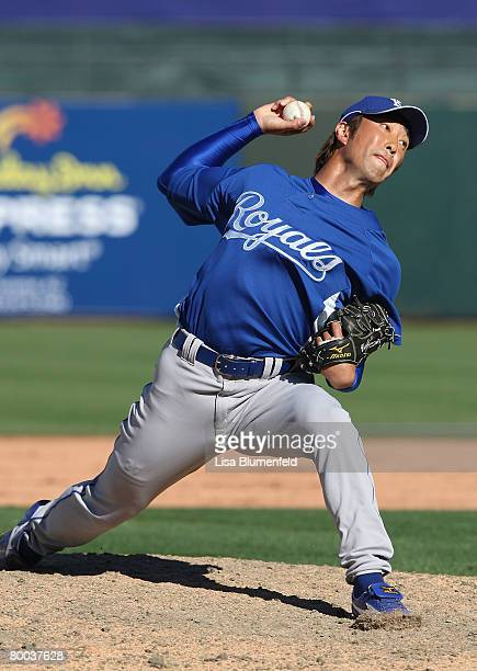 Yabuta Yasuhiko of the Kansas City Royals pitches during the game against the Texas Rangers at Surprise Stadium on February 27 2008 in Surprise...