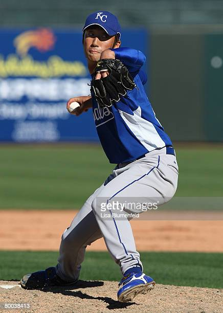 Yabuta Yasuhiko of the Kansas City Royals pitches during the preseason game against the Texas Rangers at Surprise Stadium on February 27 2008 in...