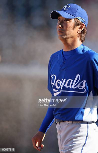 Yabuta Yasuhiko of the Kansas City Royals walks back to the mound during the game against the Texas Rangers at Surprise Stadium on February 27 2008...