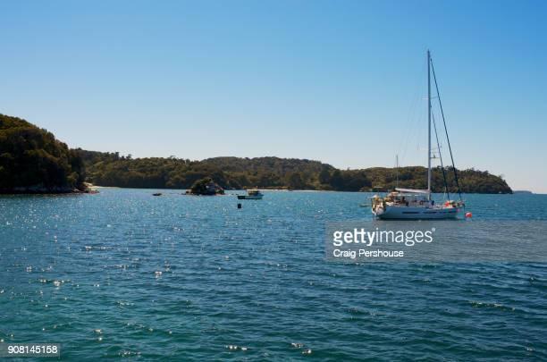 Yacht and fishing boat in Halfmoon Bay.