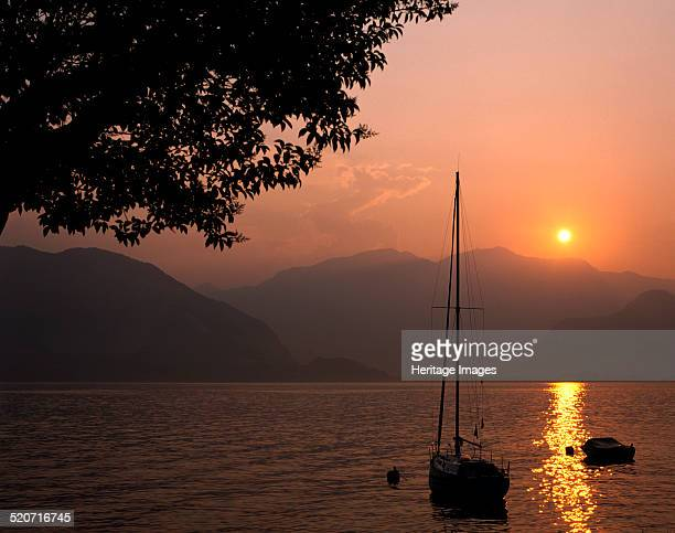 Yacht at sunset Lake Maggiore Italy