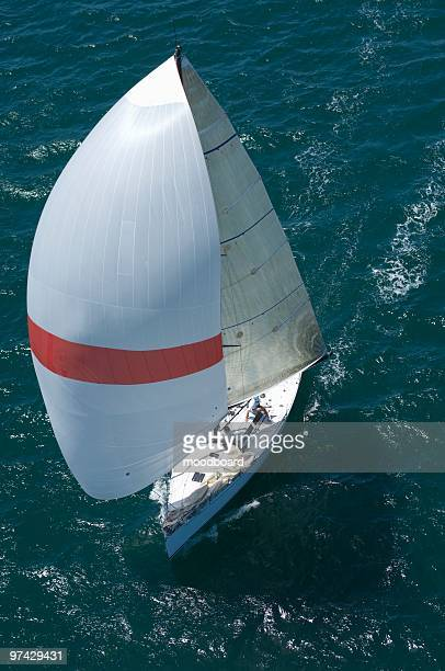 yacht competes in team sailing event, california - sailing team stock pictures, royalty-free photos & images