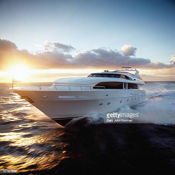 Yacht cruising near fjords