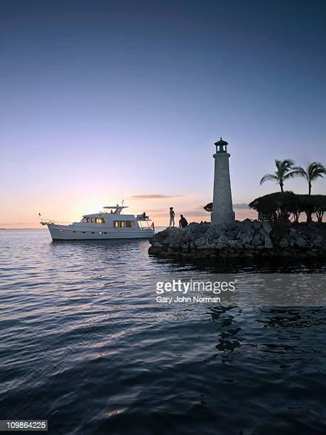 Yacht entering harbour Key Largo