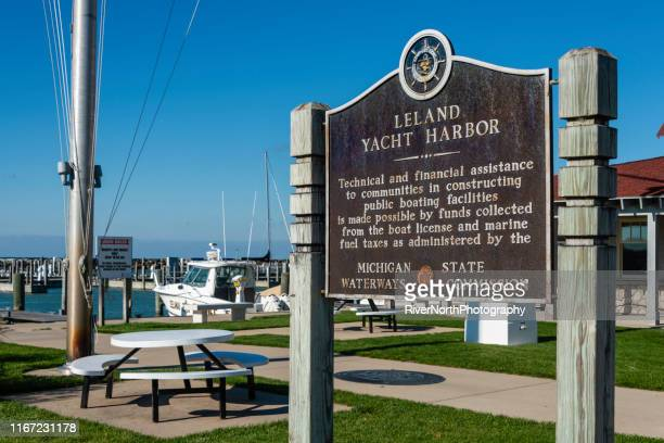 yacht harbor, leland historic district (fishtown) - leelanau county  michigan stock pictures, royalty-free photos & images