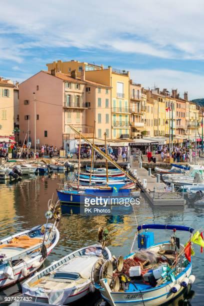 yacht harbor of st.tropez, côte d'azur, france - st tropez stock pictures, royalty-free photos & images