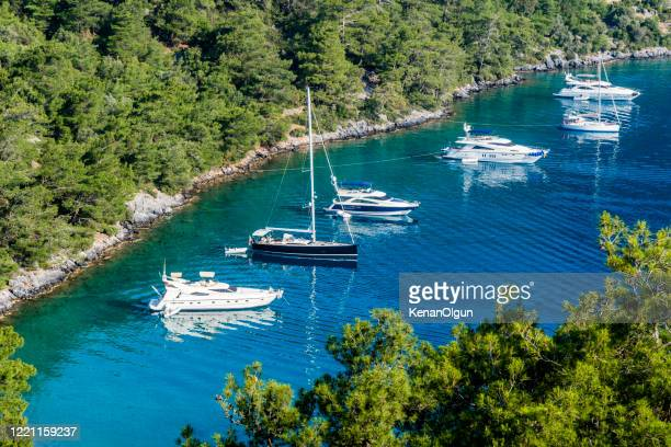 yacht holiday. daily boat trip. blue voyage. - kas stock pictures, royalty-free photos & images