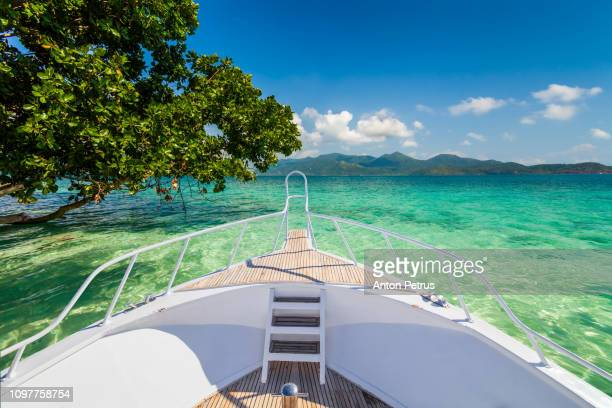 yacht in tropical paradise. beautiful landscape near a tropical island - east stock pictures, royalty-free photos & images