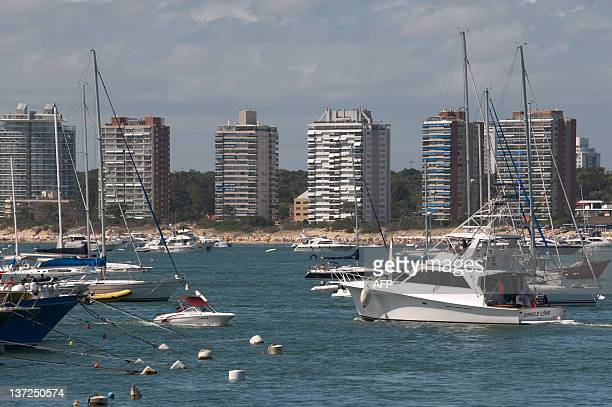 A yacht leaves the Yacht Club of Punta del Este one of the most exclusive seaside resorts of Latin America 140 km east from Montevideo on January 13...