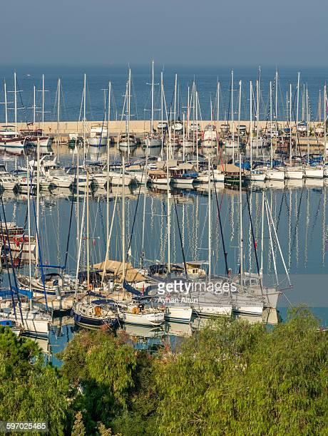 yacht marina in kusadasi,aydin,turkey - priene stock photos and pictures