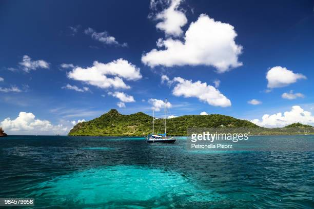 A yacht moored in the sea at Carriacou, Grenada.