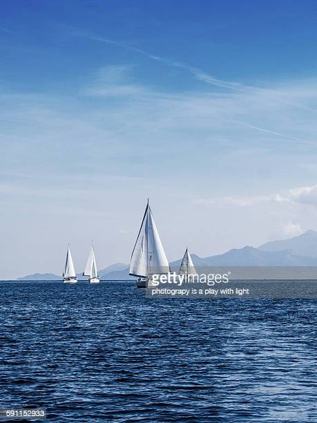 yacht race - thasos stock photos and pictures