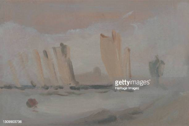 Yacht Racing on the Solent, ca. 1827. Formerly attributed to Joseph Mallord William Turner and Peter DeWint Artist Unknown. .