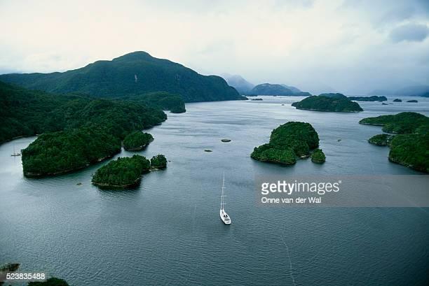 Yacht Sailing Along South Island