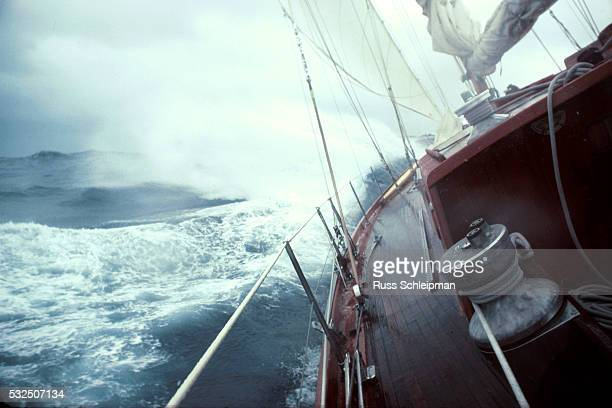 Yacht Sailing in Rough Seas