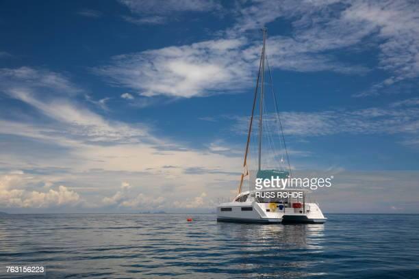 yacht sailing on sea, ban koh lanta, krabi, thailand, asia - catamaran stock photos and pictures