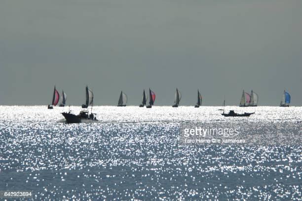 Yacht sailing on the sunny beach