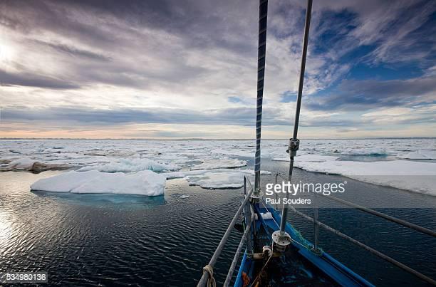 Yacht Sailing Through Pack Ice in Habenichtbukta Bay