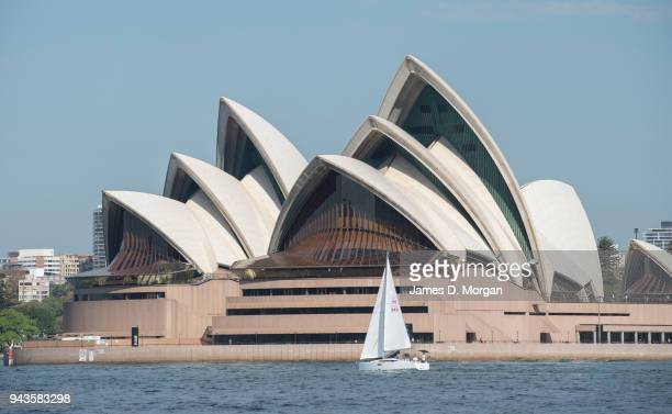 A yacht sails past the Opera House on April 9 2018 in Sydney Australia Sydney has been experiencing unseasonably high temperatures for April with...