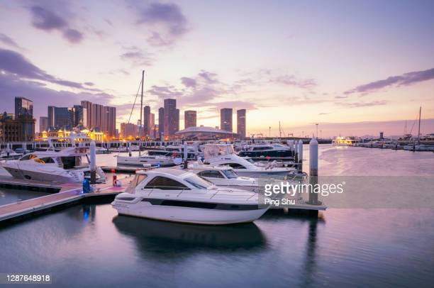 yacht wharf by the sea of dalian - marina stock pictures, royalty-free photos & images