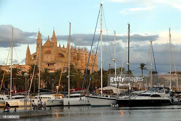 "Yachthafen und Kathedrale ""La Seo"", Palma de Mallorca, Insel Mallorca, Balearen, Spanien, Europa, Hafen, Yachten, Boote, Kirche, Reise,"