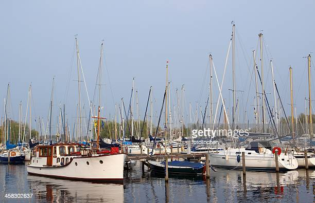 Yachts and boats in the harbor of Naarden