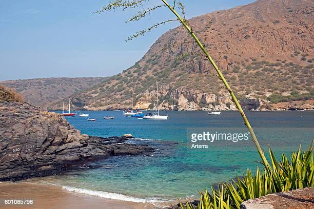 Yachts and sailing boats in the bay of Tarrafal on the island Santiago Cape Verde / Cabo Verde Western Africa