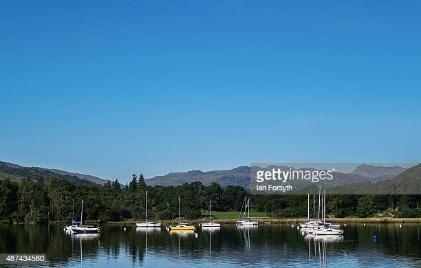 Yachts are moored in a small bay on Lake Windermere on September 07, 2015 in Windermere, England. Lake Windermere is the largest natural lake in...