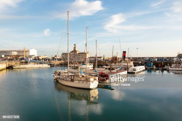 yachts at ramsgate marina - kent county stock pictures, royalty-free photos & images