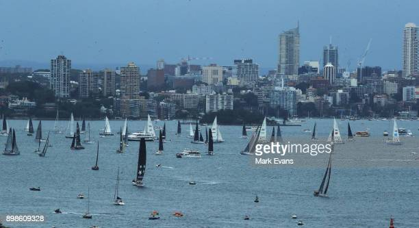 Yachts gather in Sydney Harbour before the start of the 2017 Sydney to Hobart Yacht Race on December 26 2017 in Sydney Australia