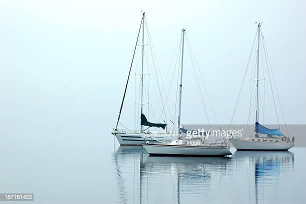 Yachts in fog