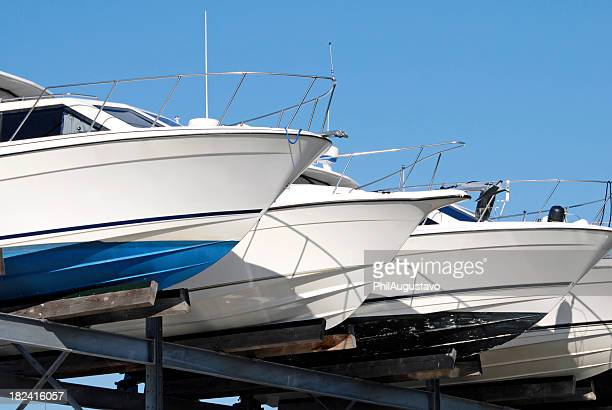 yachts in storage - storage compartment stock pictures, royalty-free photos & images