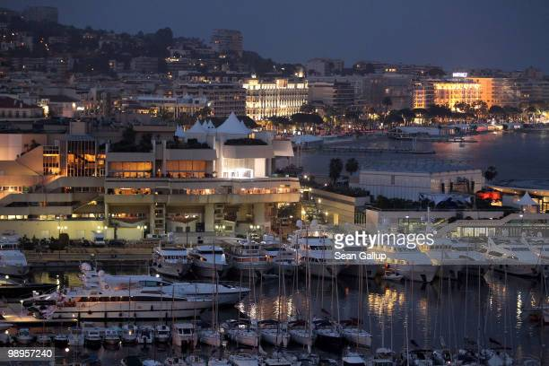 Yachts line the harbour at dusk prior to the annual film festival on May 10 2010 in Cannes France The 63rd Cannes Film Festival will run from May 12...