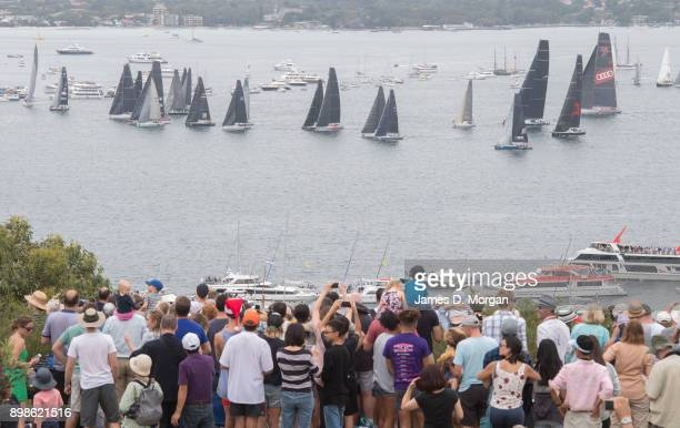 Yachts line up in the harbour for the start during the 2017 Sydney to Hobart yacht race on December 26 2017 in Sydney Australia The 73rd running of...