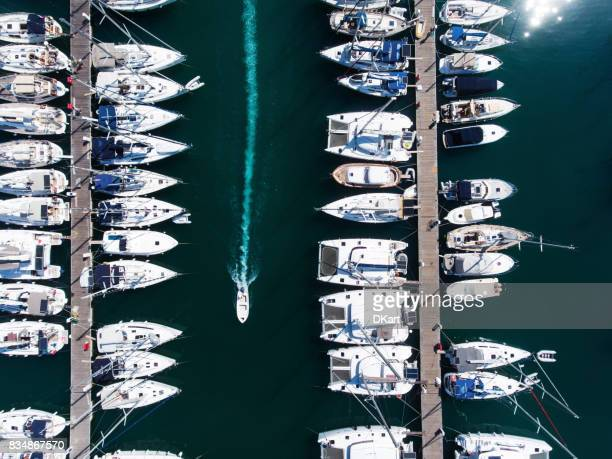Yachts marina aerial view by drone