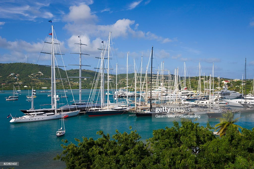 Yachts moored in English Harbour, Nelson's Dockyard, Antigua, Leeward Islands, West Indies, Caribbean, Central America : Stock Photo